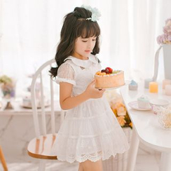 Candy Rain - Kids Mesh Trim Short Sleeve Tiered Lace Dress