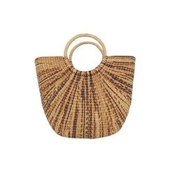 DABAGIRL - Hoop-Handle Woven Bamboo Tote