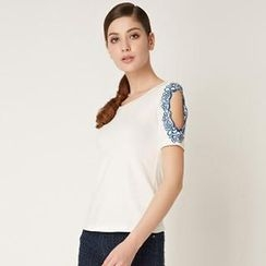 O.SA - Cutout Short-Sleeve Embroidered Top