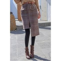 migunstyle - Asymmetric-Hem Checked Skirt With Belt