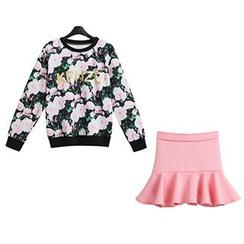 FURIFS - Set: Floral Pullover + Frilled Skirt