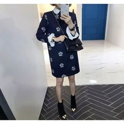 Miamasvin - Collared Contrast-Trim Flower Patterned Dress