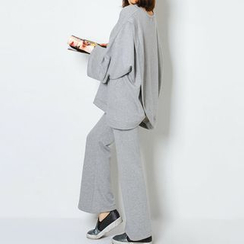 FASHION DIVA - Set: Wide-Sleeve Layered Back Pullover + Wide-Leg Pants