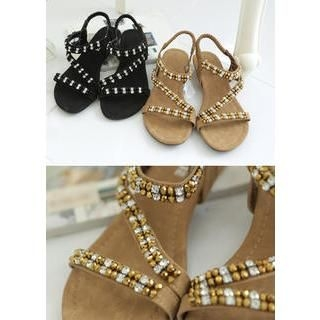 Bongjashop - Two-Tone Rhinestone Sandals