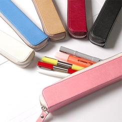 LIFE STORY - Faux-Leather Zip Pencil Case