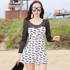 Beach Date - Lace-Sleeve Print Swimsuit
