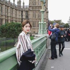 mimi&didi - Mandarin-Collar Pocket-Front Striped Shirt