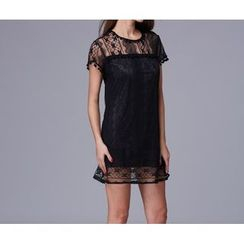 Dream a Dream - Lace Short-Sleeve Dress