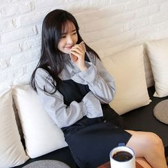Envy Look - Mandarin-Collar Striped Blouse