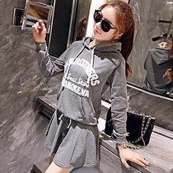 Linda Fashion - Set: Hooded Pullover + A-Line Skirt
