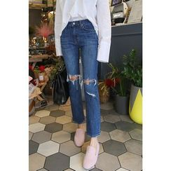 PPGIRL - Distressed Straight-Cut Jeans