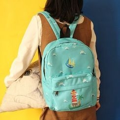 Bolso - Printed Canvas Backpack