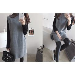 DAILY LOOK - Turtle-Neck Sleeveless Knit Vest
