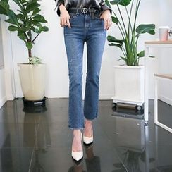 DABAGIRL - Fray-Hem Washed Boot-Cut Jeans