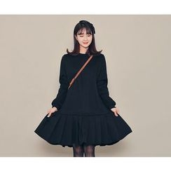 HOTPING - Ruffle-Hem Fleece-Lined Pullover Dress