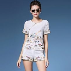 Elabo - Set: Embroidered Short Sleeve Top + Shorts