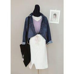 J-ANN - Drawstring-Waist Cutout-Hem Midi Skirt