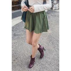 migunstyle - Zip-Detail Pleated Skirt