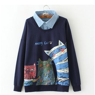 Citree - Mock Two Piece Cat Print Collared Pullover