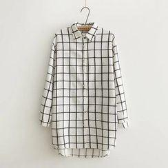 Aigan - Long-Sleeve Check Long Blouse
