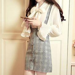 Karussell - Plaid Button-front Jumper Skirt