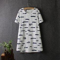 Blue Rose - Print Short-Sleeve T-Shirt Dress