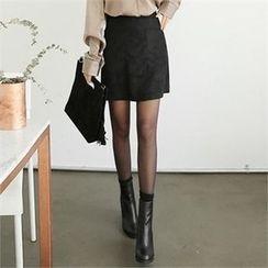 ZIZIBEZIRONG - Dual-Pocket Faux-Suede Mini A-Line Skirt