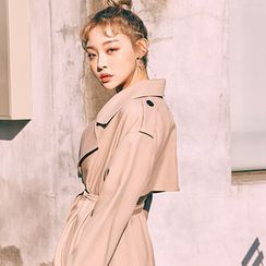 chuu - Single-Breasted Long Trench Coat with Sash