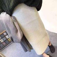 Rollis - Ribbed Knit Midi Skirt