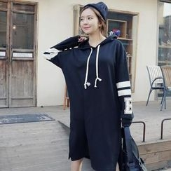 REDOPIN - Drawstring Hooded Pullover Dress