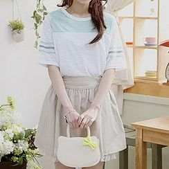 Sechuna - Set: Elbow-Sleeve Top + Band-Waist Skirt