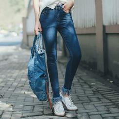 11.STREET - Fray Skinny Jeans