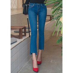 Chlo.D.Manon - Cutout-Hem Semi Boot-Cut Jeans