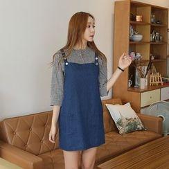 Envy Look - Pocket-Accent Denim Jumper Skirt