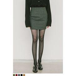 QQQQ - Brushed-Fleece Mini Pencil Skirt