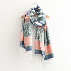 Nycto - Fringed Patterned Knit Scarf