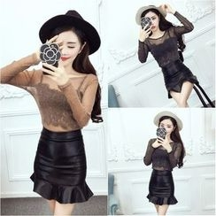 Dream Girl - Set: Sheer Long-Sleeve Top + Camisole + Ruffle Hem Faux Leather Skirt