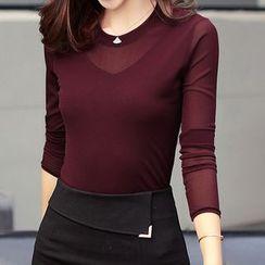 Marlene - Long Sleeve Mesh Panel Crewneck T-Shirt