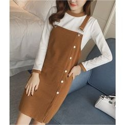 Dowisi - Set: Buttoned Pinafore Dress + Contrast Trim Long-Sleeve Top
