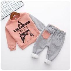 Rakkaus - Kids Set: Printed Pullover + Fleece-Lined Pants