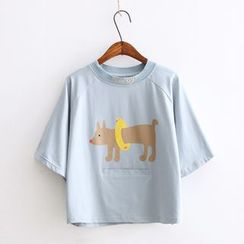 Vateddy - Dog Print Short Sleeve T-Shirt