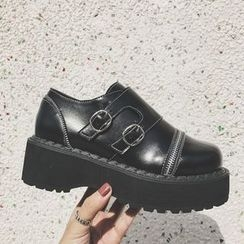 Laceuplux - Zip Detailed Buckled Platform Shoes
