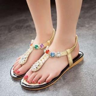 Pangmama - Jeweled Thong Sandals