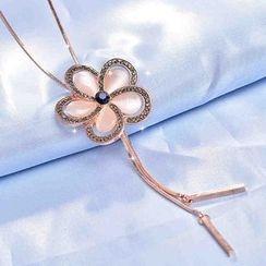 Best Jewellery - Rhinestone Floral Necklace