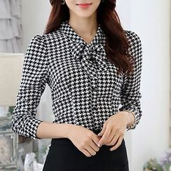 Mija - Set : Gingham Bow Long-Sleeve Blouse / Skirt