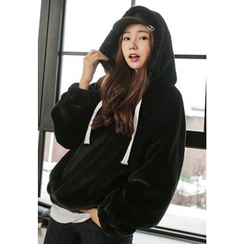 REDOPIN - Faux-Fur Hooded Top