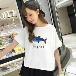MayFair - Shark Print Short Sleeve T-Shirt