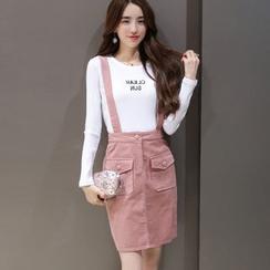 Eighoo - Set: Long-Sleeve Lettering Top + Corduroy Jumper Skirt