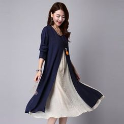 One2One - Long-Sleeve Mock Two Piece Midi Dress