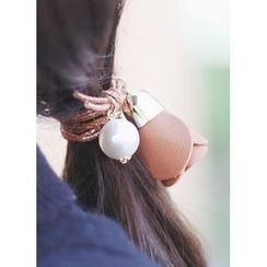 kitsch island - Faux-Pearl Rose Hair Tie